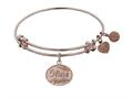 """Non-antique Pink Stipple Finish Brass """"niece"""" Angelica Expandable Bangle"""