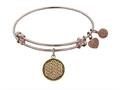 """Antique Pink Smooth Finish Brass """"flower Of Life""""  Angelica Expandable Bangle"""