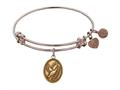"Antique Pink Smooth Finish Brass ""dove With Olive Branch+peace"" Angelica Expandable Bangle"