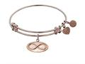 "Non-antique Pink Stipple Finish Brass ""infinity"" Angelica Expandable Bangle"