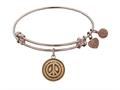 "Antique Pink Smooth Finish Brass ""peace"" Symbol Angelica Expandable Bangle"