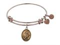 "Antique Pink Smooth Finish Brass ""faith, Hope, Charity"" Angelica Expandable Bangle"