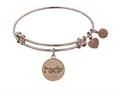 "Non-antique Rose Stipple Finish Brass ""find Your Soul Mate"" Shema-or Angelica Expandable Bangle"