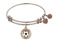 "Non-antique Pink Stipple Finish Brass With Enamel ""soccer Mom"" Angelica Expandable Bangle"