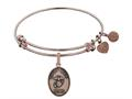 Brass with Pink Finish Proud Mom U.S. Marine Corps Oval Angelica Expandable Bangle