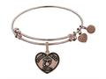 Brass with Pink Finish Proud Wife U.S. Marine Corps Heart Shaped Angelica Expandable Bangle
