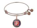 Brass with Pink Finish Enamel U.S. Marine Corps Round Angelica Expandable Bangle