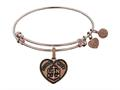Brass with Pink Finish Proud Wife U.S. Navy Heart Shaped Angelica Expandable Bangle