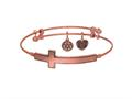 Brass with Pink Finish Sideways Cross Angelica Expandable Bangle