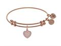 Brass With Pink Heart Charm With White CZ On Pink Angelica Collection Bangle