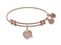 Angelica Collection Brass With Pink Heart-key Charm With White CZ On Pink Bangle