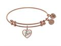 "Angelica Collection Brass With Pink ""love"" Heart Charm With Created Mother Of Pearl On Pink Bangle"
