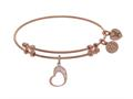 Angelica Collection Brass With Pink Open Graduated Heart Charm On Pink Bangle