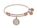 Brass With Pink Tree Of Life On Created Mop Round Charm On Pink Angelica Collection Bangle