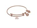 Brass With Pink Finish Infinity With Cubic Zircon Ia Charm On Pink Angelica Collection Tween Bangle