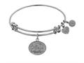 "Angelica Collection Non-antique White Stipple Finish Brass ""niece"" Expandable Bangle"