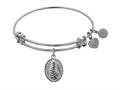 "Non-antique White Stipple Finish Brass ""faith And  Trust"" Angelica Expandable Bangle"