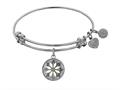 "Angelica Collection Non-antique White Stipple Finish Brass Enamel ""daisy Flower"" Expandable Bangle"