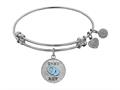 "Angelica Collection Non-antique White Stipple Finish Brass Enamel ""baby Boy"" Expandable Bangle"