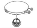 Brass White Finish Happy Birthday Charm On White Angelica Collection Bangle