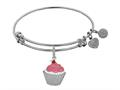 Brass White Finish Cupcake Charm On White Angelica Collection Bangle