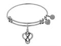 Brass White Finish Eternal Love Charm On White Angelica Collection Bangle