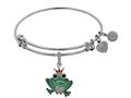 Brass White Finish Frog Charm On White Angelica Collection Bangle
