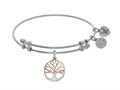 Brass With Pink+white Finish Tree Of Life Charm On White Angelica Collection Bangle