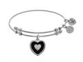 Brass With White Finish Charm Black Onyx With CZ Heart On White Angelica Collection Bangle