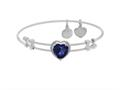 Brass With White Finish Heart Charm With Dark Blue CZ On White Angelica Collection Bangle