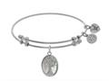 Brass With White Tree Of Life On Created Mop Oval Charm On White Angelica Collection Bangle