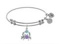 Brass With White Created Opal Crab Charm On White Angelica Collection Bangle