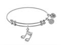 Brass With White Music Sign Charm On White Angelic A Bangle