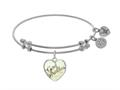 Brass With Godmother Heart Shaped Charm With Created Mop On White Angelica Collection Bangle