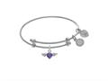 Brass With White Finish Purple Heart Cubic Zircon Ia and Angel Wings Charm On White Angelica Collection Tween Ban Gle