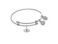 Brass With White Finish Evil Eye With Purple and Cl Ear Cubic Zirconia Charm On White Angelica Collection Tween B Angle