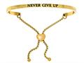 "Stainless Steel Yellow Finish ""never Give Up""adjustable Friendship Bracelet"