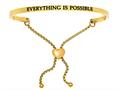 "Stainless Steel Yellow Finish ""everything Is Possible""adjustable Friendship Bracelet"