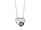 Sterling Silver 18 Inch Heart Necklace With Evil Eye Style number: 460057
