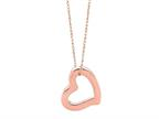 14K Rose Gold Open Heart Pendant on a 18 Inch Chain Style number: 460232