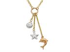 14K Yellow Gold 18 Inch Tri-Color Shell, Starfish, and Dolphin Dangle Sea Life Necklace Style number: 460264