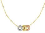 14K Yellow Gold Three Multi Color Charms on an 18 Inch Chain Style number: 460267