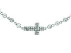 Silver with Rhodium Finish Shiny Cable Chain Small Cross Necklace with White Cubic Zirconia Style number: 460510