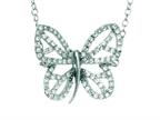 Silver with Rhodium Finish Shiny Cable Chain Butterfly Necklace with White Cubic Zirconia Style number: 460511