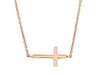 Silver with Rose Finish Shiny Sideways Cross Anchored On Cable Link Necklace Style number: 460538