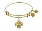 "Non-antique Yellow Stipple Finish Brass ""celtic Four Knot"" Angelica Expandable Bangle Style number: GEL1000"