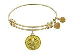 "Antique Yellow Smooth Finish Brass ""fleur De Lis""  Angelica Expandable Bangle Style number: GEL1001"