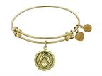 "Antique Yellow Stipple Finish Brass ""cheers"" Angelica Expandable Bangle Style number: GEL1002"