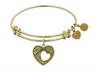 "Angelica Collection Antique Yellow Stipple Finish Brass Heart ""mom"" Open Heart Expandable Bangle Style number: GEL1004"