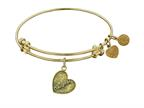 "Antique Yellow Stipple Finish Brass ""daughter Heart"" Angelica Expandable Bangle Style number: GEL1005"
